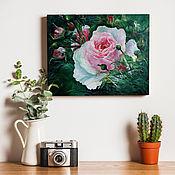 Картины ручной работы. Ярмарка Мастеров - ручная работа Нежная роза, картина маслом на холсте, 50х40, натюрморт, цветы маслом. Handmade.