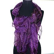 Аксессуары ручной работы. Ярмарка Мастеров - ручная работа фиолетовый с коричневым шарф шёлковыйжатый шёлк эксельсиор. Handmade.