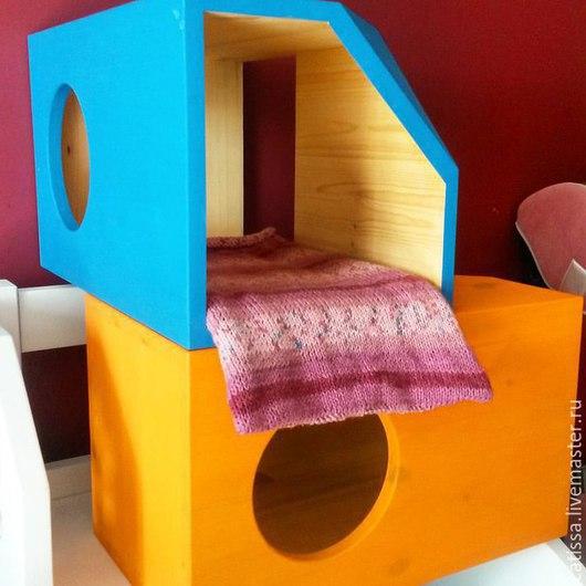 Аксессуары для кошек, ручной работы. Ярмарка Мастеров - ручная работа. Купить Половинка из двух домиков. Handmade. Разноцветный, лежанка для кошки