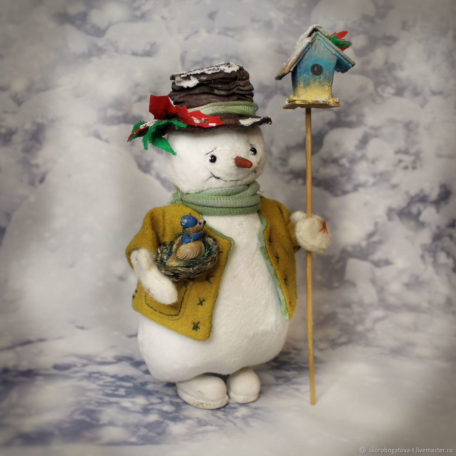 Snowman in a hat with a birdhouse, Stuffed Toys, Odintsovo,  Фото №1