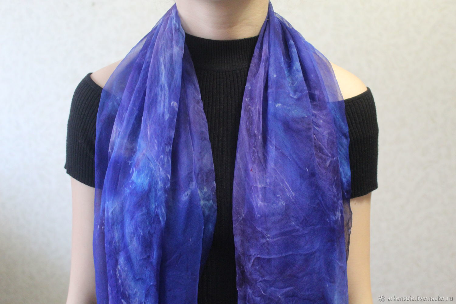Scarves handmade. Livemaster - handmade. Buy 3 colors to choose from, natural silk scarf, shibori, ,175h110 cm.
