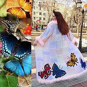 """Одежда ручной работы. Ярмарка Мастеров - ручная работа Пальто """" Бабочки-трапеция"""",цвет- перламутр. Handmade."""