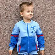 Одежда handmade. Livemaster - original item Blue hoodie for boy Airplane, children`s hoodie with zipper. Handmade.