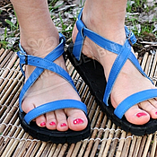 Обувь ручной работы handmade. Livemaster - original item DISCOUNT! Sandals of leather Without the ear Blue. Handmade.