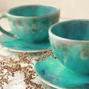 Посуда ручной работы. Ярмарка Мастеров - ручная работа Керамические чашки Бирюза. Handmade.