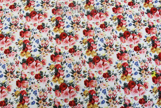 Ткань с цветами.Ткань с розочками.Летняя ткань. Ткань для шитья. Стрейч-коттон.
