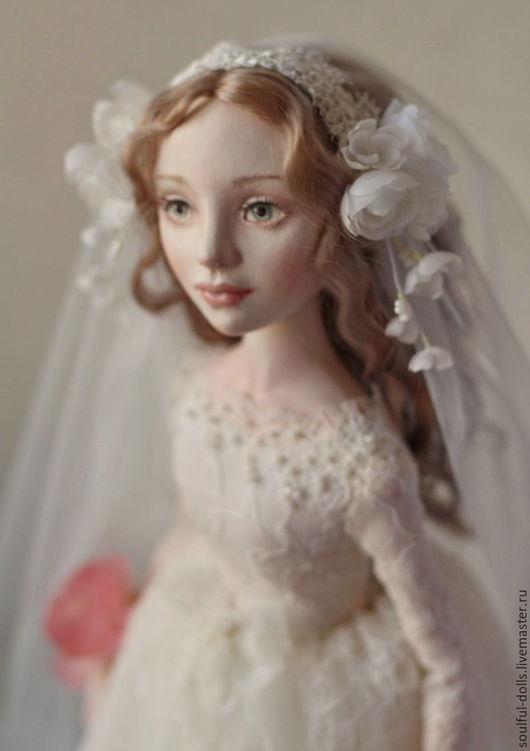 Коллекционные куклы ручной работы. Ярмарка Мастеров - ручная работа. Купить Невеста. Handmade. Белый, фата, Будуарная кукла, фата