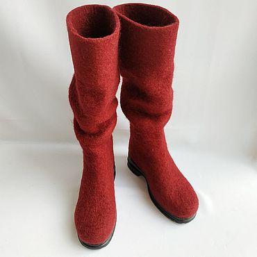 Обувь ручной работы. Ярмарка Мастеров - ручная работа Сапожки валяные Бордо с жатым голенищем. Handmade.