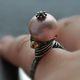 """Кольца ручной работы. Ярмарка Мастеров - ручная работа. Купить """"MAKADI"""" серебряное кольцо с жемчугом. Handmade. Кольцо с жемчугом, персиковый"""