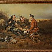 Картины и панно ручной работы. Ярмарка Мастеров - ручная работа охотники на привале. Handmade.