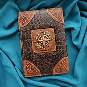 "Канцелярские товары handmade. Livemaster - original item Leather notebook ""WIND ROSE"". Handmade."