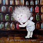 """Картины и панно ручной работы. Ярмарка Мастеров - ручная работа Картина """"Я знаю, где прячутся солёные огурчики..."""" Копия Е. Гапчинской. Handmade."""