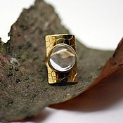 Rings handmade. Livemaster - original item Large ring with rock crystal (gilded silver). Handmade.