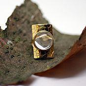 Кольца ручной работы. Ярмарка Мастеров - ручная работа Крупное кольцо с горным хрусталем (позолота по серебру). Handmade.