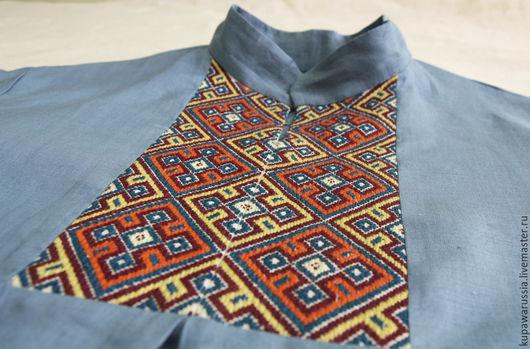 Этническая одежда ручной работы. Ярмарка Мастеров - ручная работа. Купить Вышиванка мужская.. Handmade. Синий, вышивка на заказ