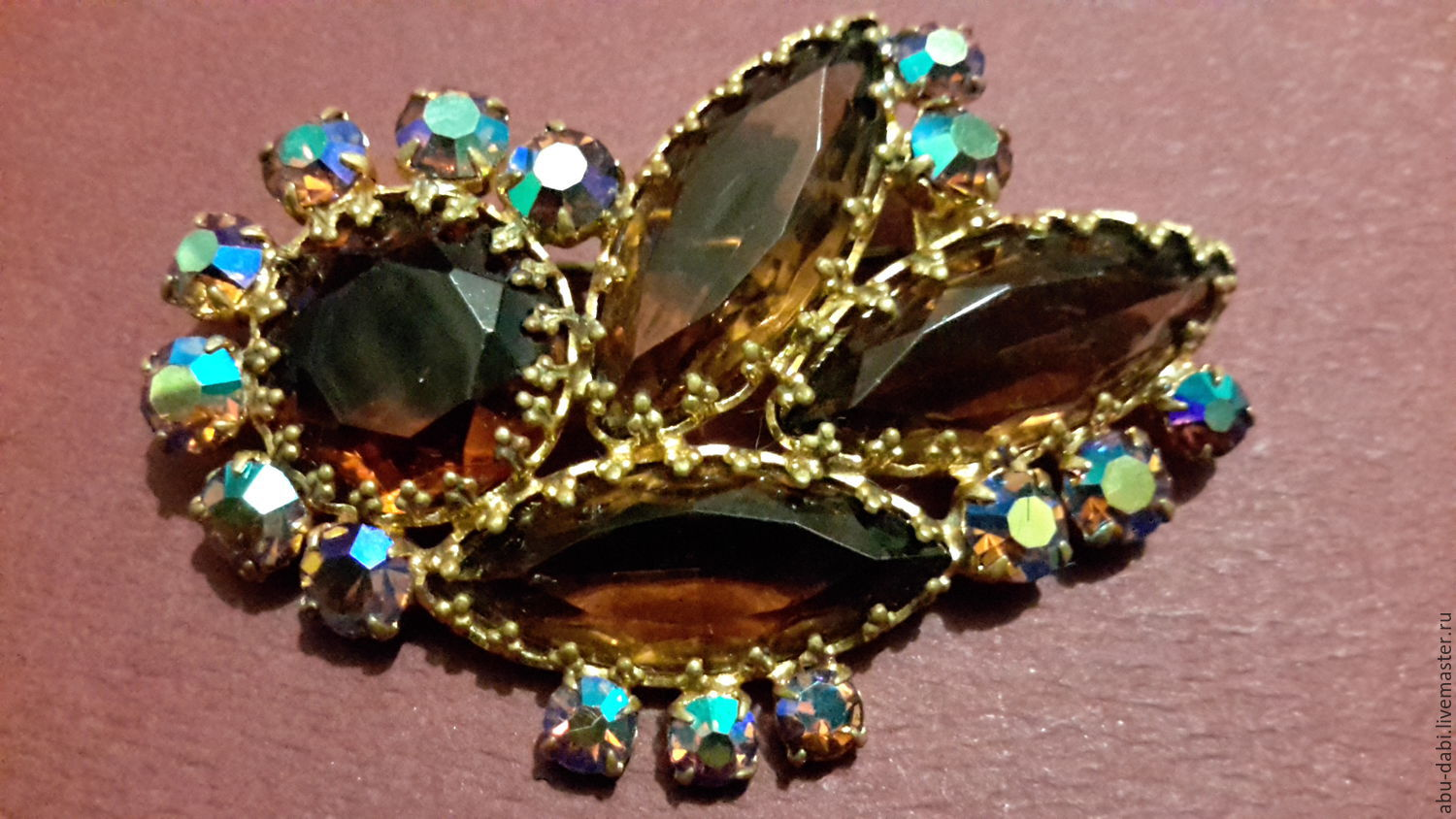 Brooch CZECHOSLOVAKIA large vintage Czech rhinestone 1970s, Vintage brooches, Moscow,  Фото №1