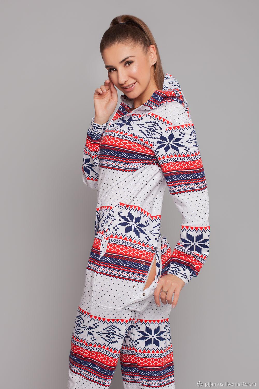 Теплая женская пижама-комбинезон из футера Орнамент, Комбинезоны, Санкт-Петербург,  Фото №1