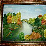 """""""Меж берез и сосен тихо ходит осень,,,""""- авторская картина из кожи"""