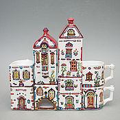 """Посуда ручной работы. Ярмарка Мастеров - ручная работа Чайный сервиз  архитектора """"Городок"""". Handmade."""