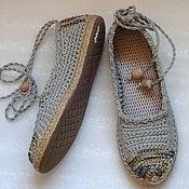 Обувь ручной работы. Ярмарка Мастеров - ручная работа Балетки уличные Лето в разгаре, бохо, серый, лен. Handmade.