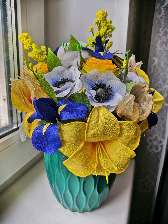 Бумажная цветочная композиция в керамическом кашпо, Цветы, Москва,  Фото №1