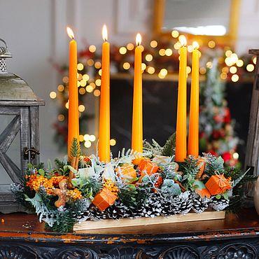 Сувениры и подарки ручной работы. Ярмарка Мастеров - ручная работа Новогодняя композиция со свечами. Handmade.