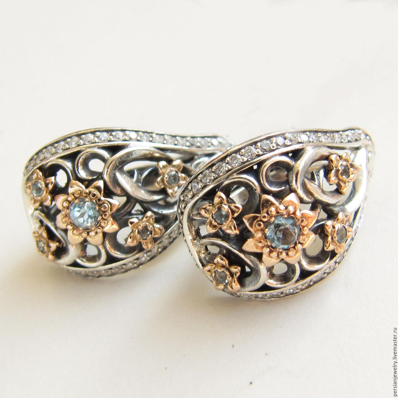 Silver earrings with blue Topaz 'Spring Rhapsody', Earrings, Sevastopol,  Фото №1