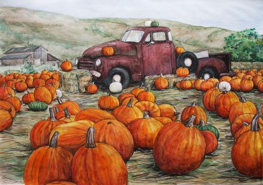 Пейзаж ручной работы. Ярмарка Мастеров - ручная работа. Купить Осенний урожай (Большой размер). Handmade. Рыжий, рисунок тыквы