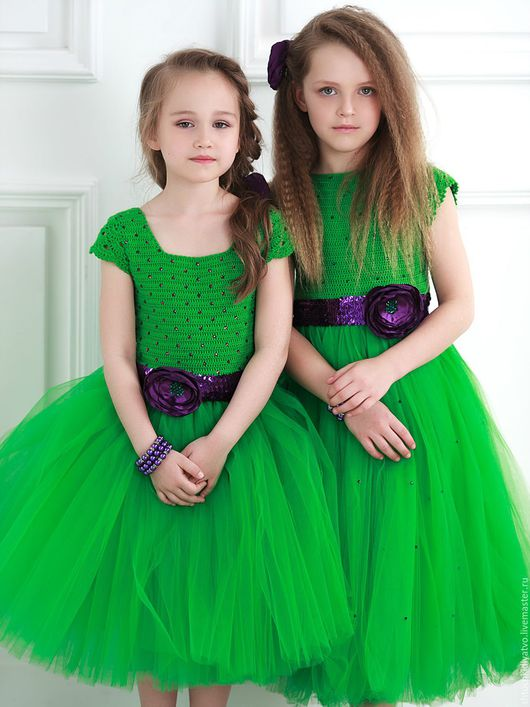 Одежда для девочек, ручной работы. Ярмарка Мастеров - ручная работа. Купить Авторское пышное платье зеленого цвета. Handmade. Зеленый