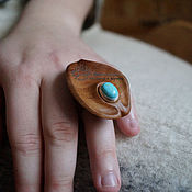 Украшения handmade. Livemaster - original item Ring wooden Sea drop. Handmade.