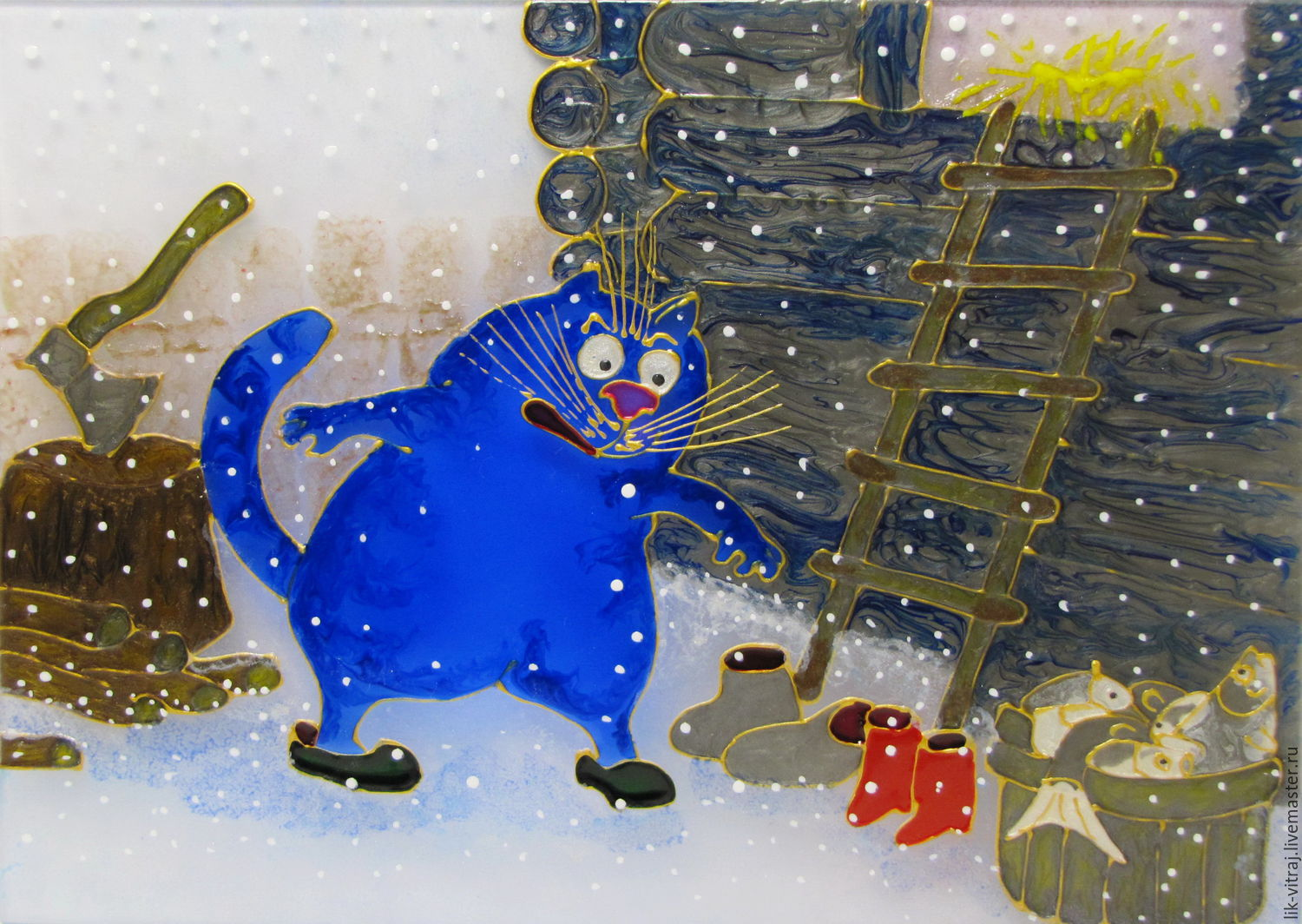 Stained glass painting And the husband went for a beer! Blue cats by Rina, Sanuk, Pictures, Severodonetsk,  Фото №1