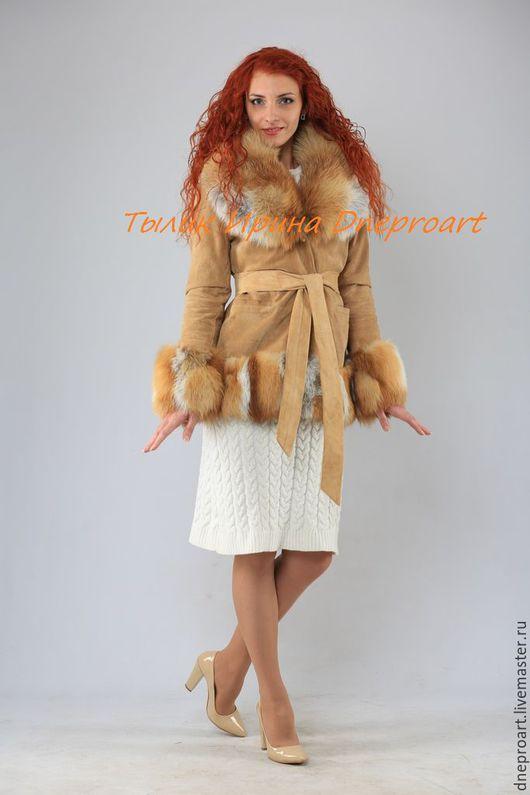 """Верхняя одежда ручной работы. Ярмарка Мастеров - ручная работа. Купить Куртка """"Нежная лисичка""""из натуральной замши с лисой. Handmade."""