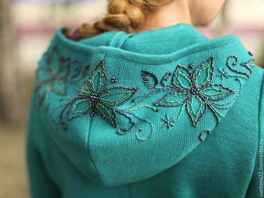 """Верхняя одежда ручной работы. Ярмарка Мастеров - ручная работа. Купить Вязаное пальто """"Королевская накидка в цвете-голубая ель"""". Handmade."""