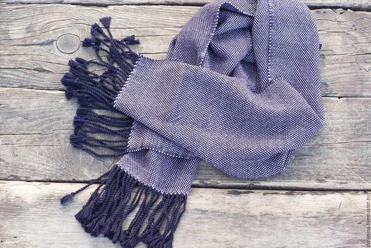 Шарфы и шарфики ручной работы. Ярмарка Мастеров - ручная работа. Купить Домотканый шарф purple&lilac мериносовый. Handmade. Тёмно-синий