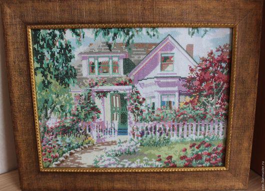 """Подвески ручной работы. Ярмарка Мастеров - ручная работа. Купить Картина """"Мой прекрасный дом"""". Handmade. Комбинированный, мулине"""