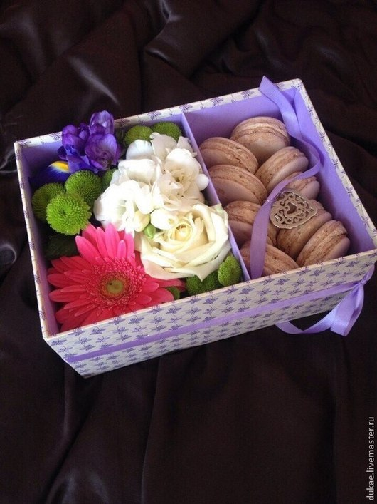 Подарочная упаковка ручной работы. Ярмарка Мастеров - ручная работа. Купить Бокс для цветов (без крышки). Handmade. Сиреневый