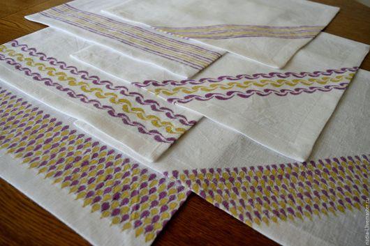 Текстиль, ковры ручной работы. Ярмарка Мастеров - ручная работа. Купить Набор салфеток. Handmade. Комбинированный, лен, роспись льна