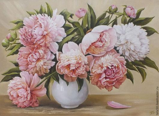 """Картины цветов ручной работы. Ярмарка Мастеров - ручная работа. Купить """" Бело- розовые пионы на теплом фоне"""". Handmade."""