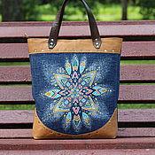 Сумки и аксессуары handmade. Livemaster - original item Bag of genuine leather and jeans painted