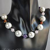 Украшения handmade. Livemaster - original item A necklace of pearls of Majorca and gems, a Necklace under the neck amber amethyst. Handmade.