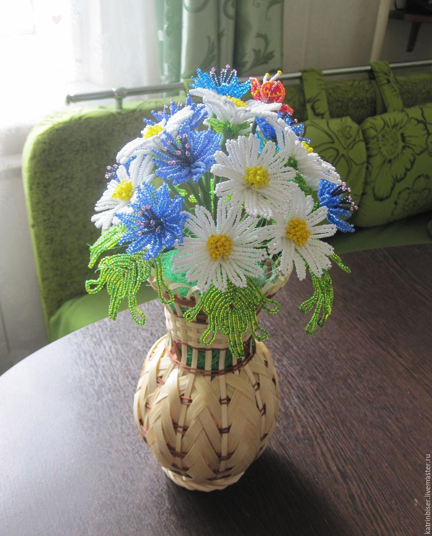 Букеты <i>цветок из латекса своими руками</i> из ромашек из бисера