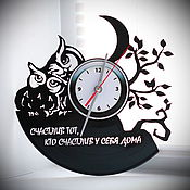 "Для дома и интерьера handmade. Livemaster - original item Wall clock ""owls"" made from vinyl records. Handmade."