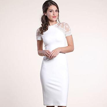 Одежда ручной работы. Ярмарка Мастеров - ручная работа 120: 44 размер - белое платье футляр с кружевом. Handmade.