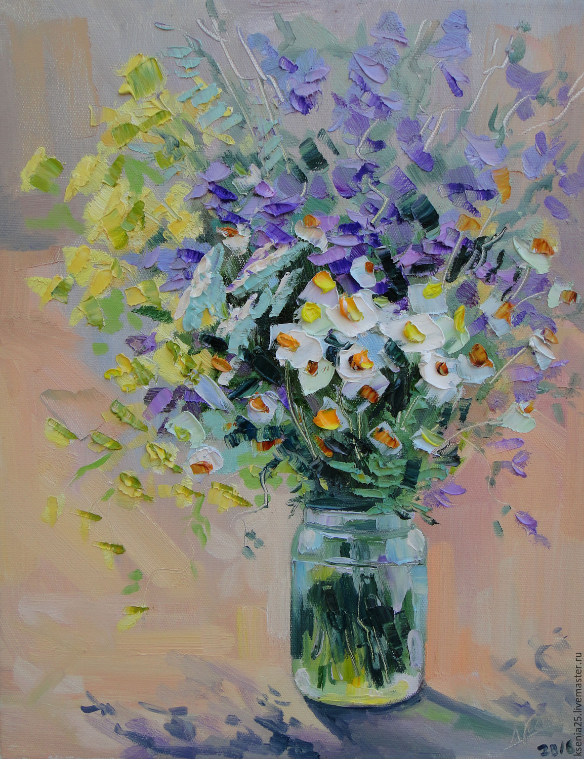 Oil painting Bouquet of flowers with daisies – shop online on ...
