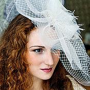Свадебный салон handmade. Livemaster - original item Wedding hat with a brim. Champagne. Handmade.