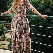 Одежда ручной работы. Ярмарка Мастеров - ручная работа Платье длинное с цветочным принтом. Handmade.