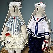 Куклы и игрушки ручной работы. Ярмарка Мастеров - ручная работа Зайцы текстильные в стиле Тильда. Handmade.