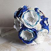 Свадебный салон handmade. Livemaster - original item White and blue bouquet of fabrics and brooches. Handmade.
