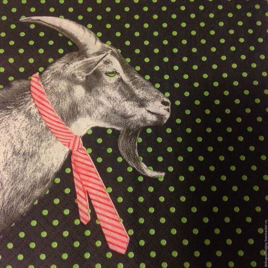 Настоящий КОЗЕЛ! Салфетка для декупажа с козлом в галстуке и фоном Декупажная радость