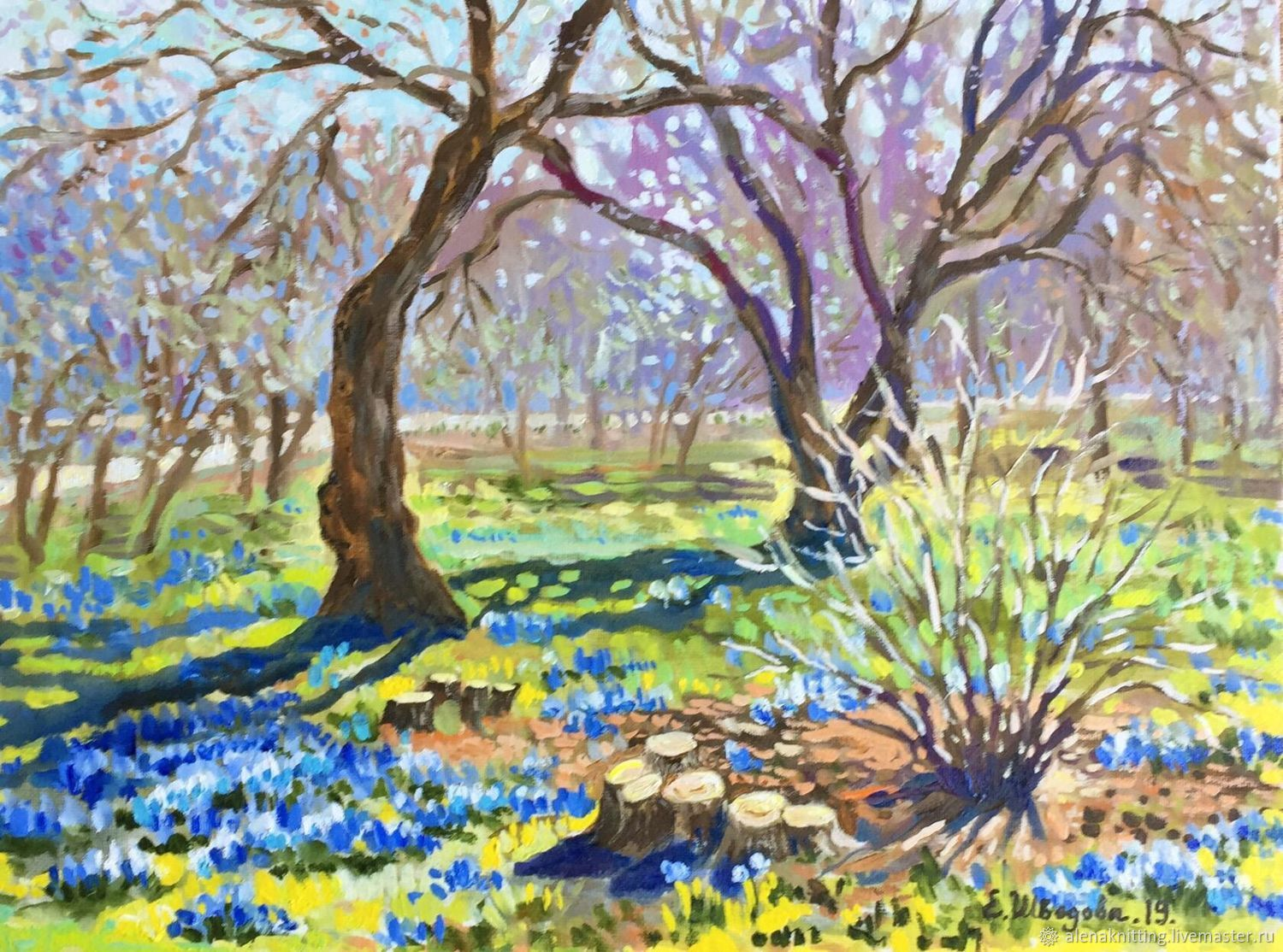 Oil painting 'Primroses in the Park», Pictures, Moscow,  Фото №1